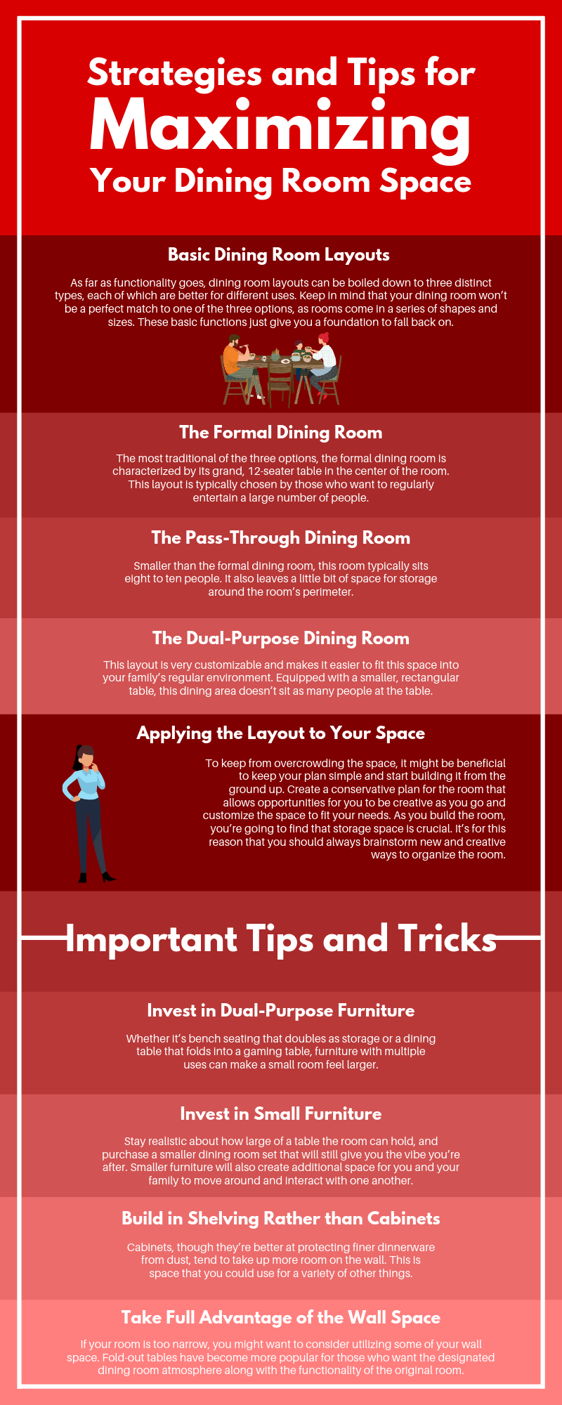 strategies and tips for maximizing your dining room space infographic