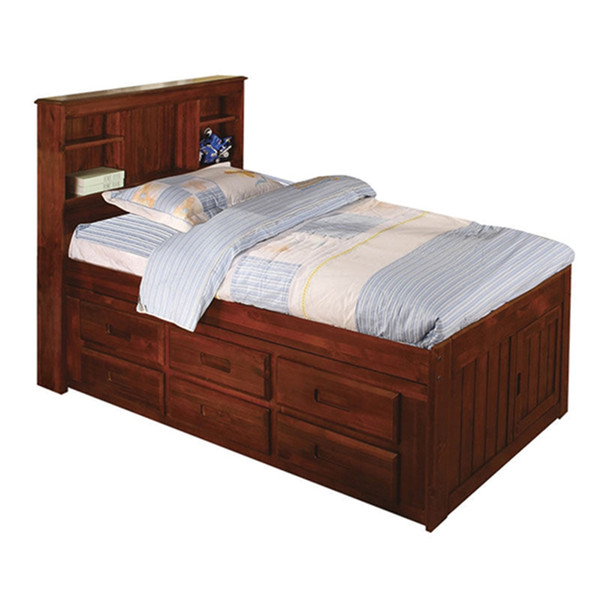 Merlot Twin Bookcase Captain Bed