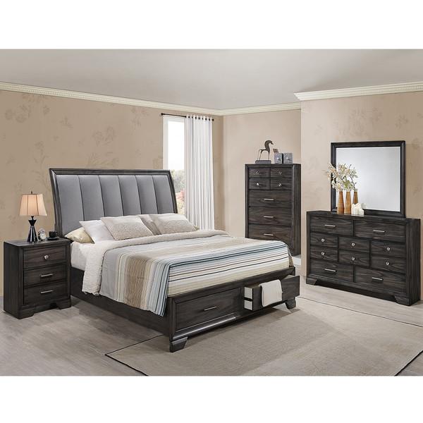 Crown Mark 6580 Grey Storage Bedroom Set