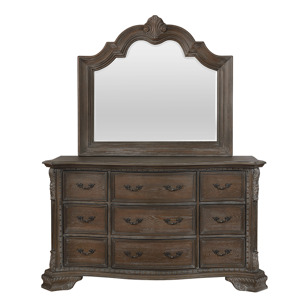Sheffield Antique Grey Dresser and Mirror
