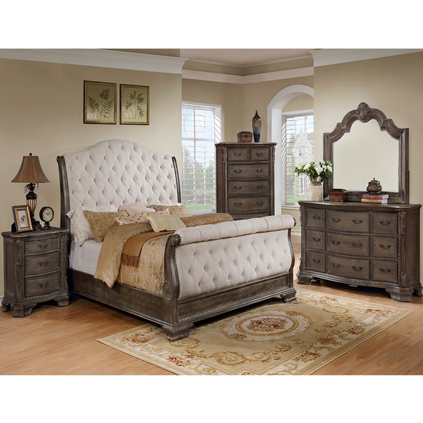 Sheffield Antique Grey Sleigh Bedroom Set