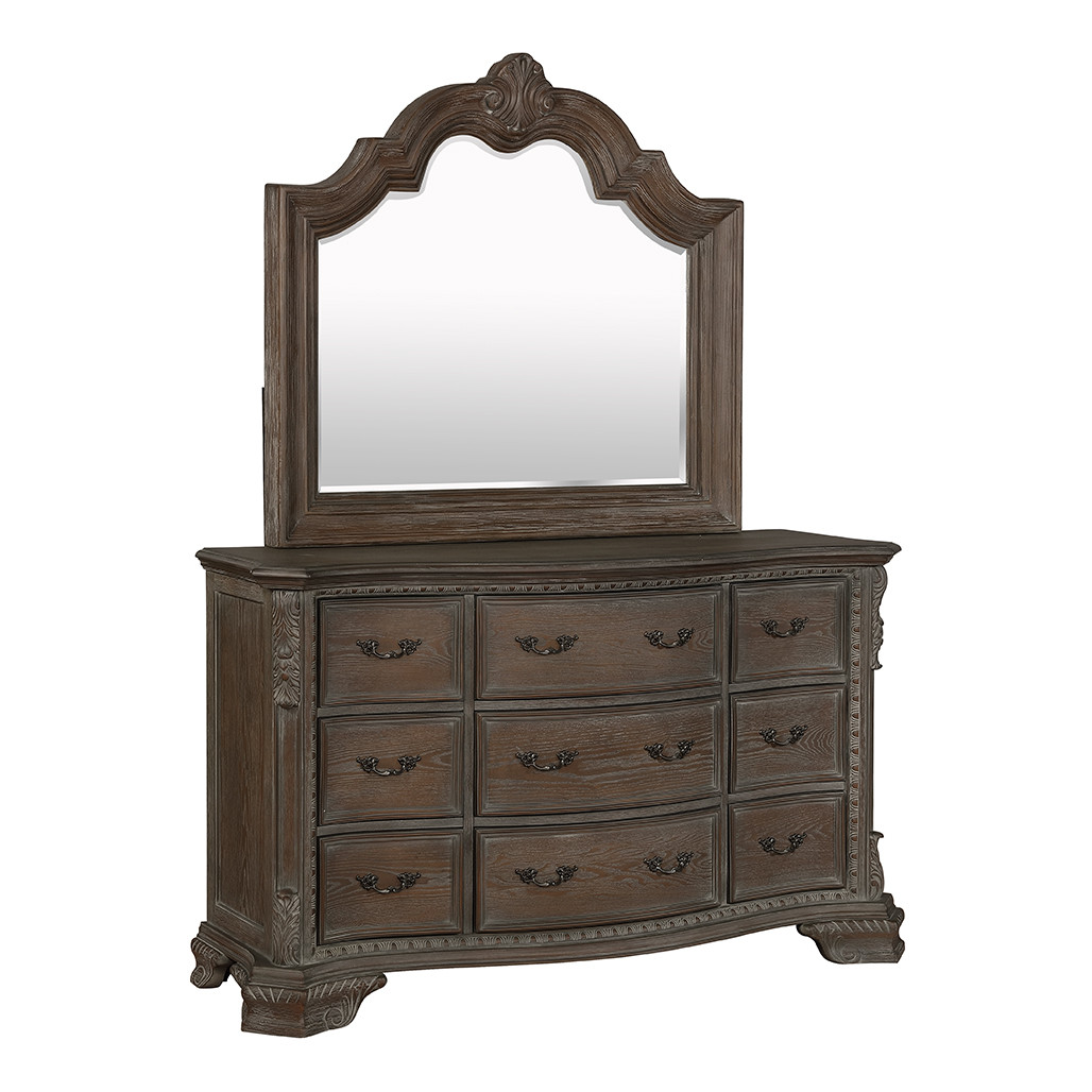 Crown Mark 1120 Sheffield Antique Grey Dresser and Mirror