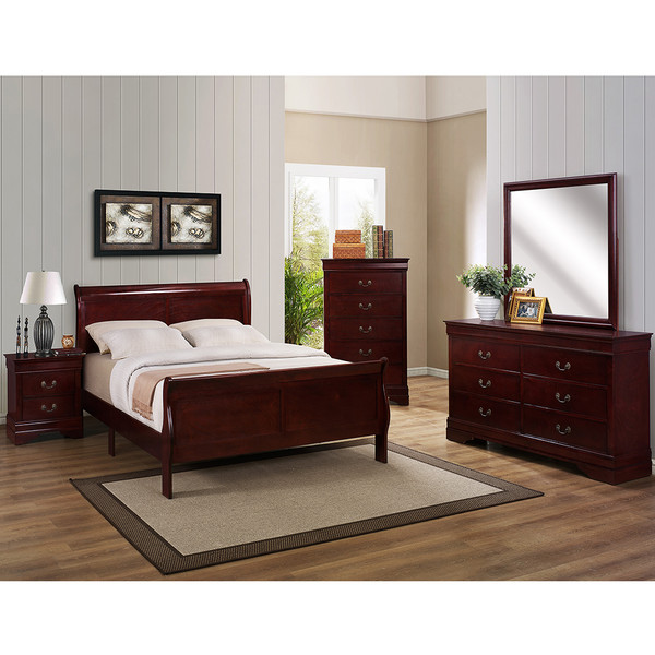 Crown Mark 3850 Louis Philip Cherry Bedroom Set