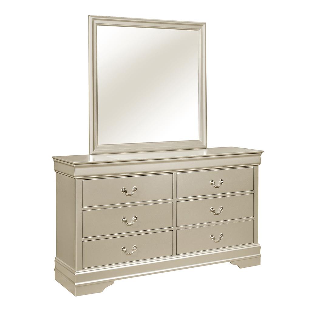 Louis Philip Champagne Dresser and Mirror