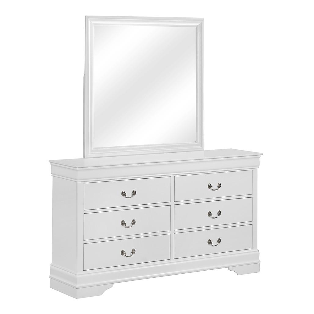 Crown Mark 3650 Louis Philip White Dresser and Mirror