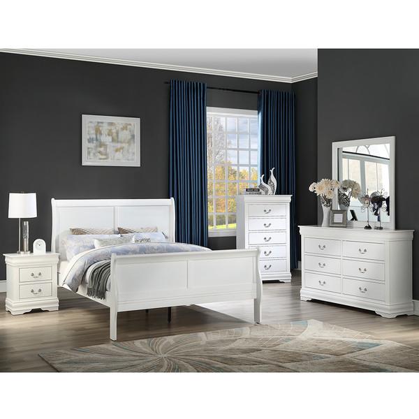 Crown Mark 3650 Louis Philip White Bedroom Set