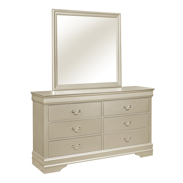 Louis Philip Champagne Dresser and Mirror
