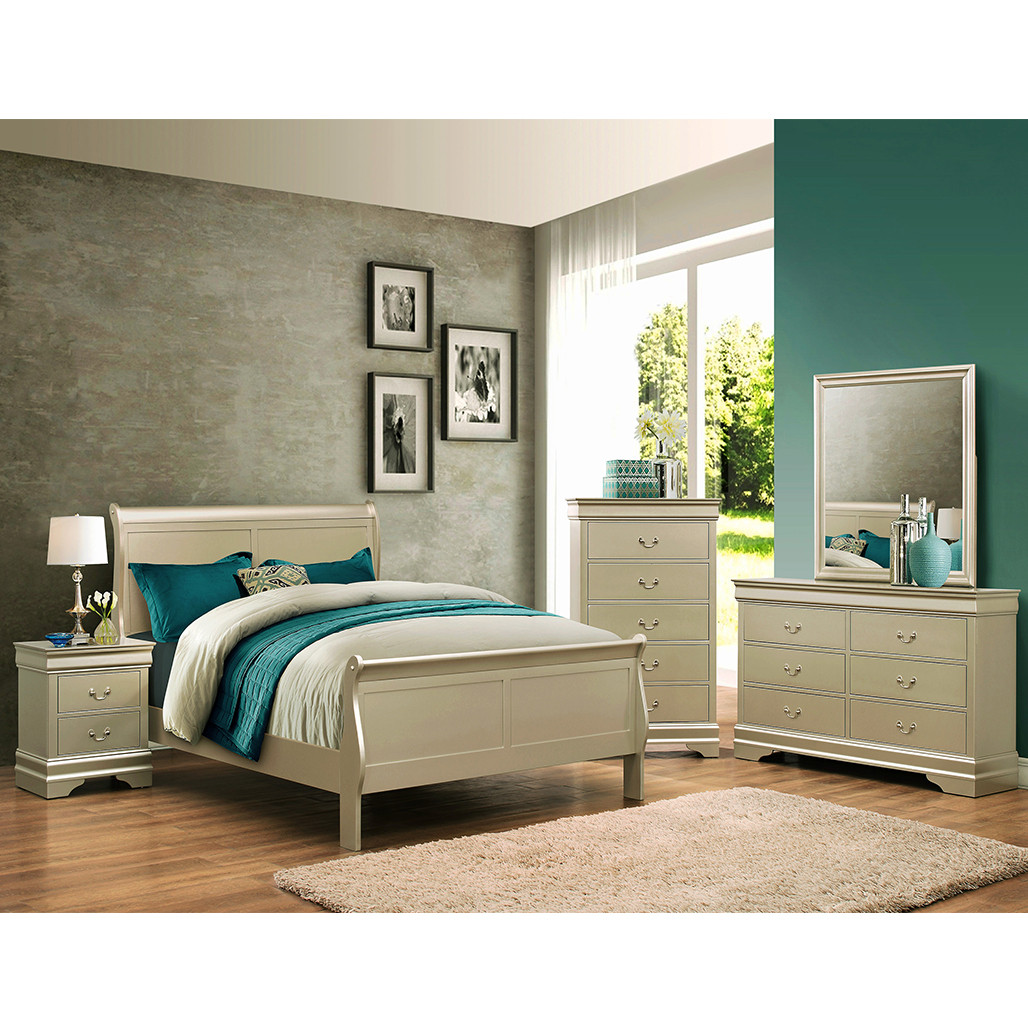 Crown Mark 3450 Louis Philip Champagne Bedroom Set