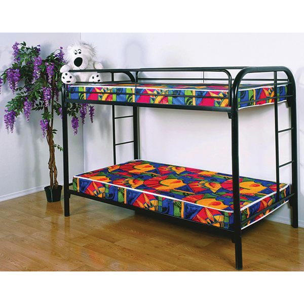 Donco 4501 Gloss Black Twin/Twin Metal Bunk Bed
