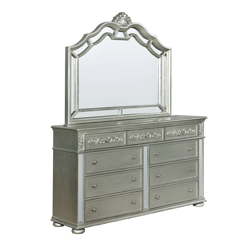 Crown Mark 7660 Sterling Dresser and Mirror