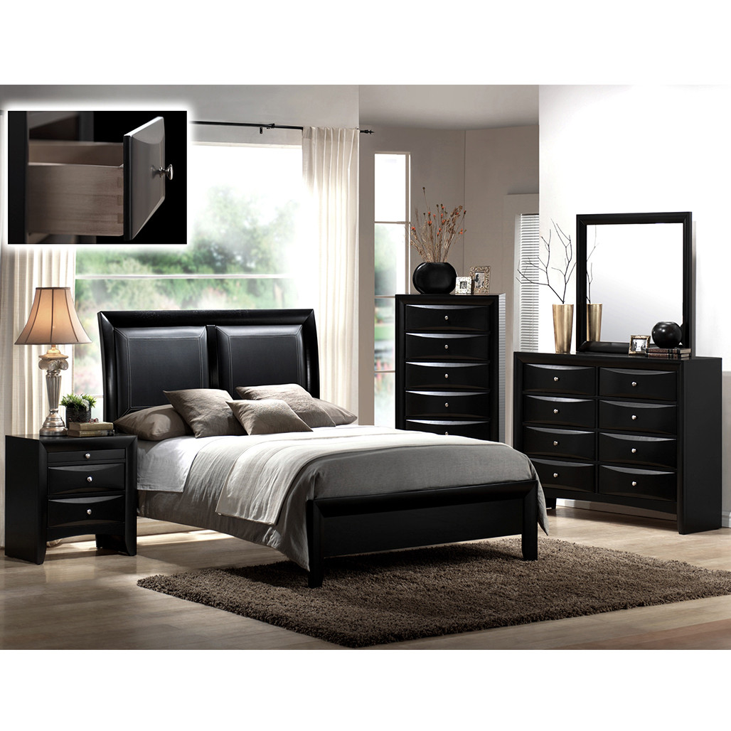 Crown Mark 4280 Emily Black Dresser and Mirror