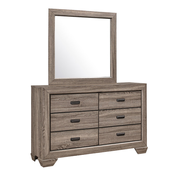 Crown Mark 5500 Farrow Grey Dresser and Mirror