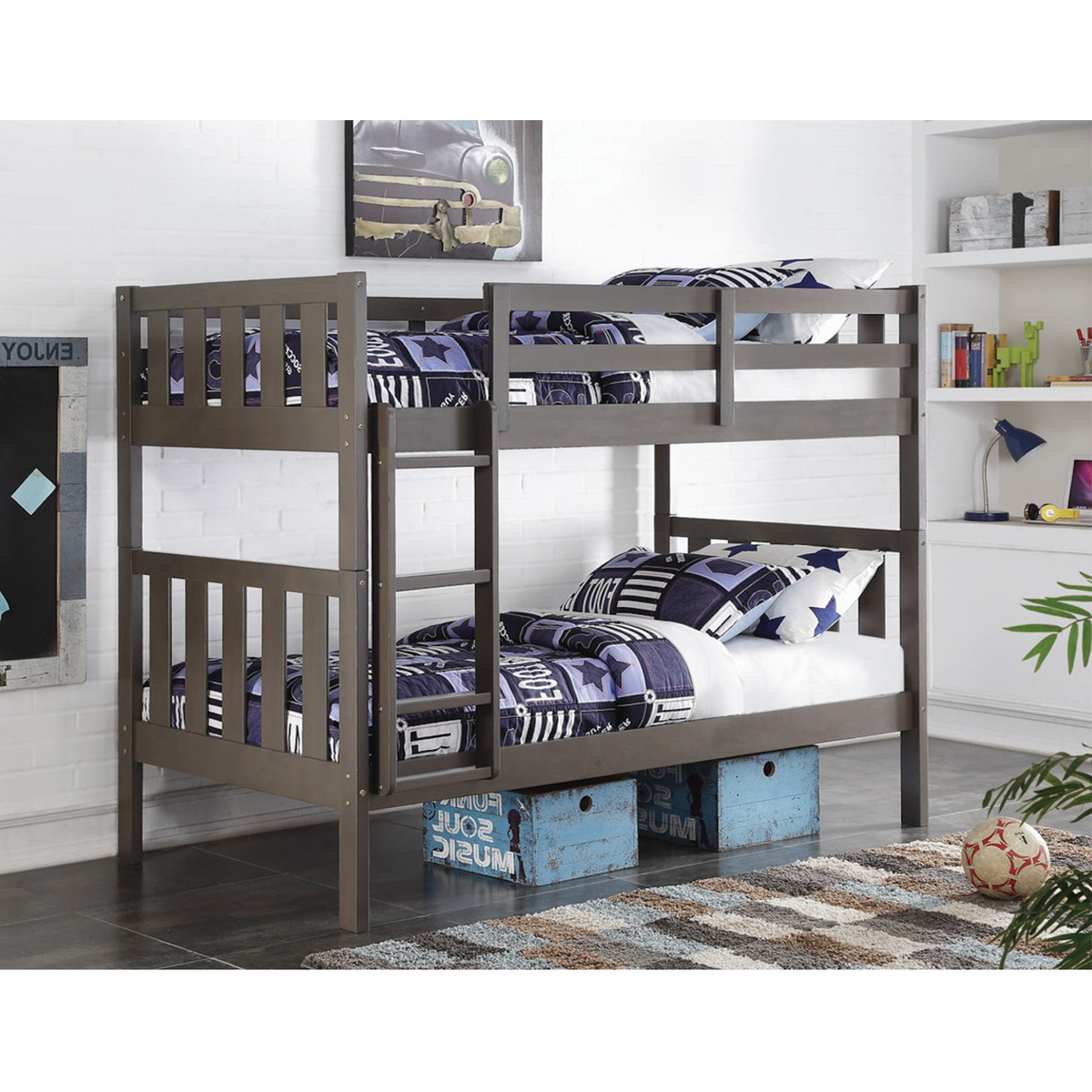 Donco 1010 Grey Twin/Twin Bunk Bed