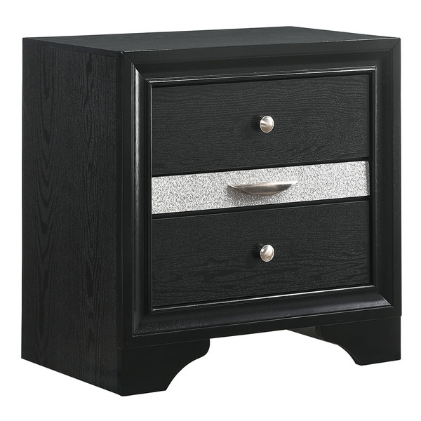 Regata Black and Silver Nightstand