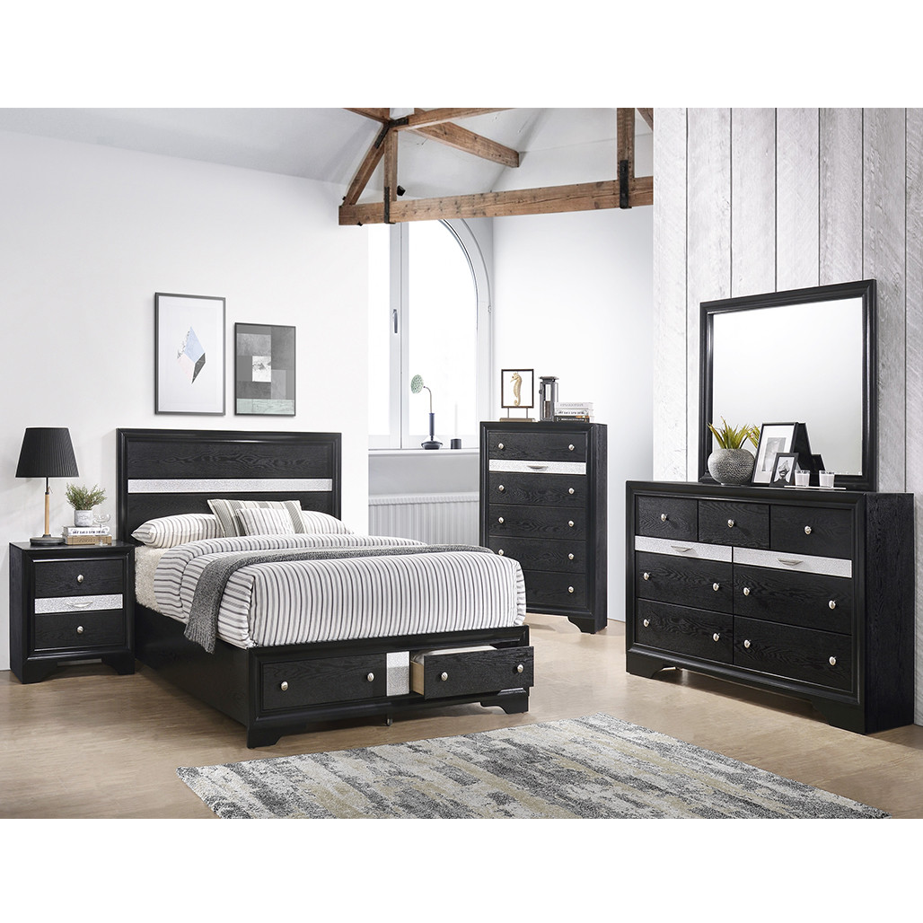 Crown Mark 4670 Regata Black and Silver Dresser and Mirror