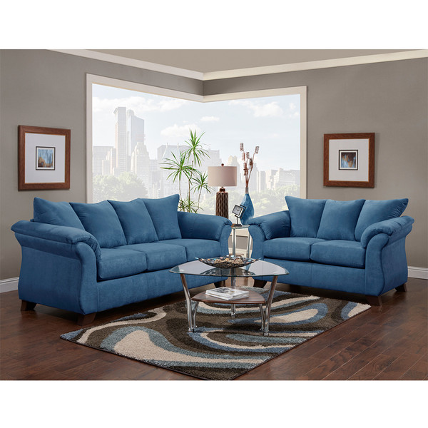 Affordable 6700 Sensations Cobalt Sofa and Love