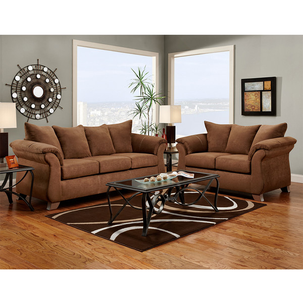 Affordable 6700 Aruba Chocolate Sofa and Love