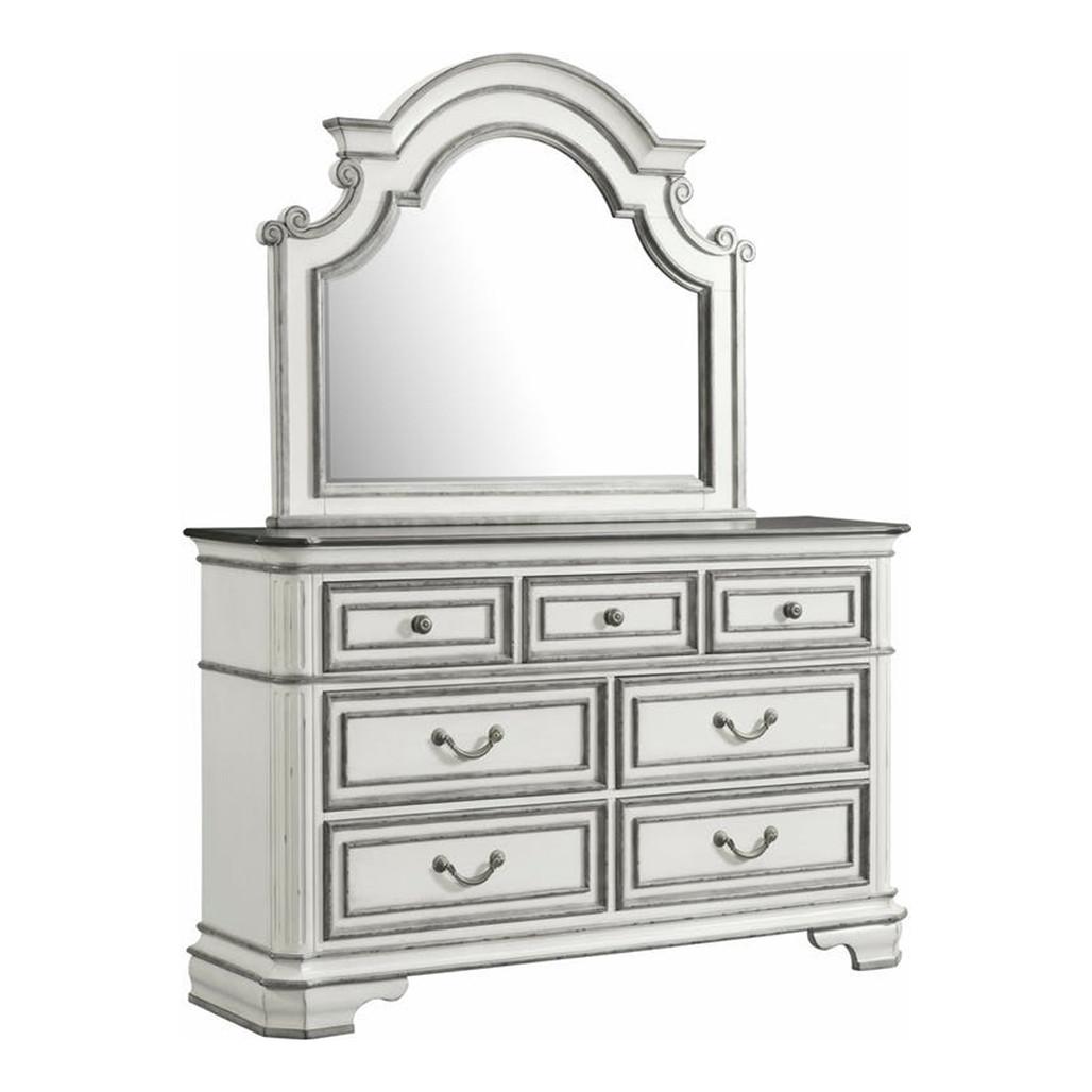 Leighton Manor Antique White Dresser and Mirror