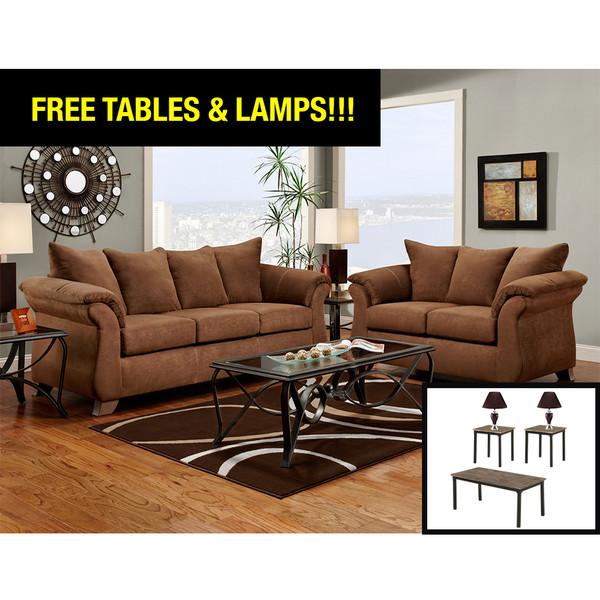 Affordable 6700 Aruba Chocolate Living Room Set