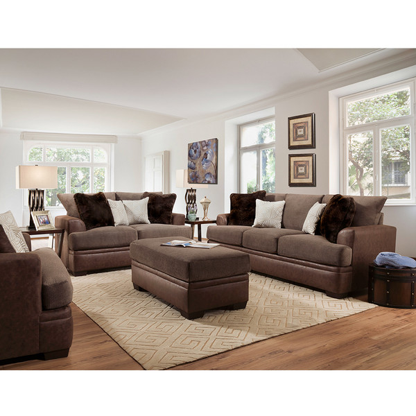 American 3650 Akan Mocha Living Room Set,houston