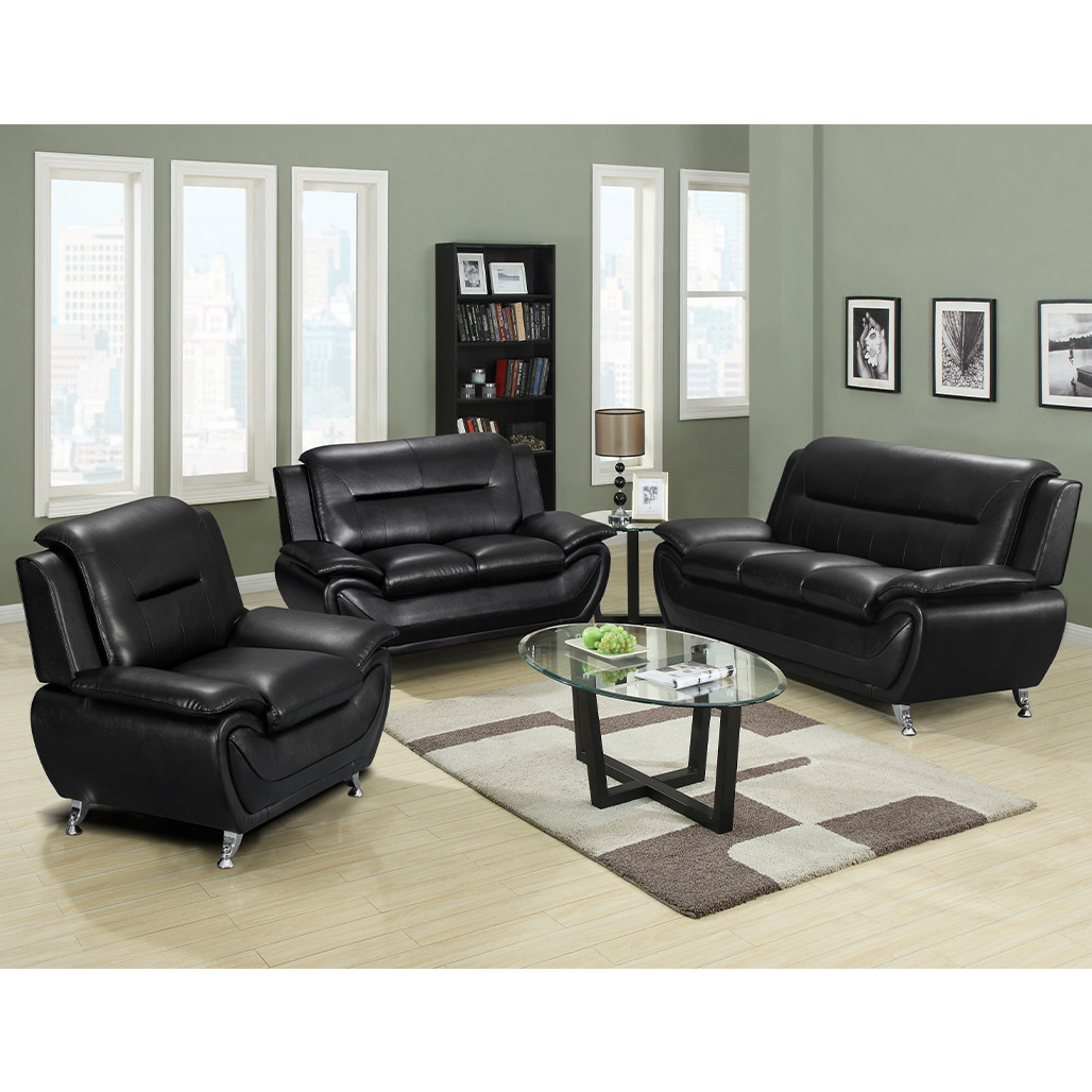 Happy Homes 868 Black Sofa, Love, and Chair
