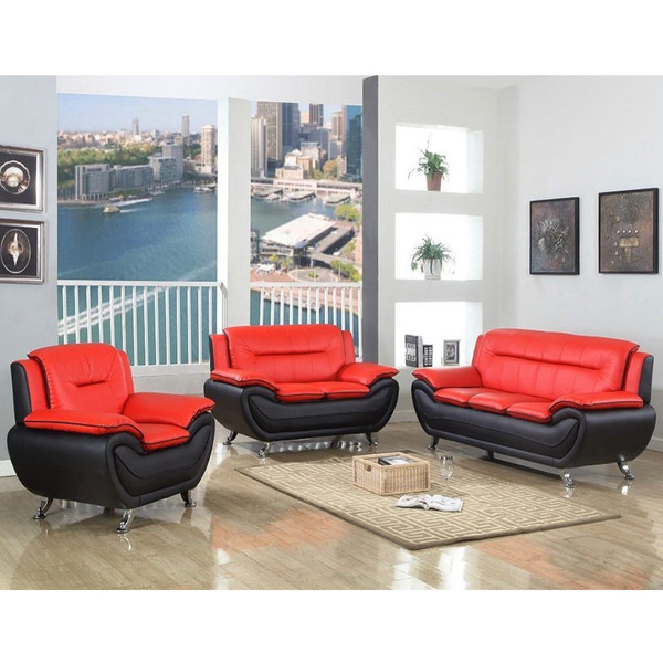 Black and Red Sofa, Love, and Chair