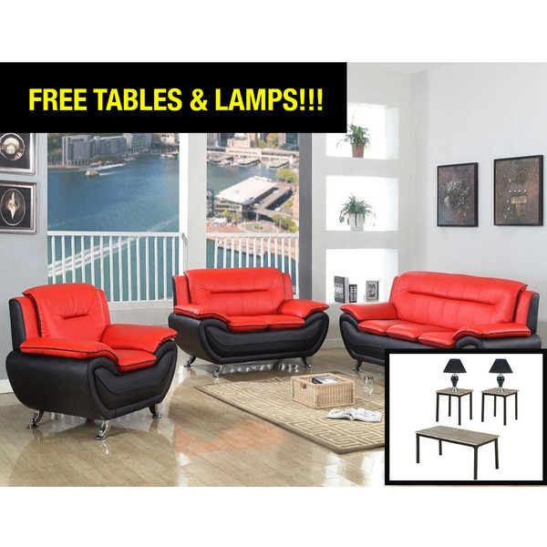 Happy Homes 870 Red and Black Living Room Set