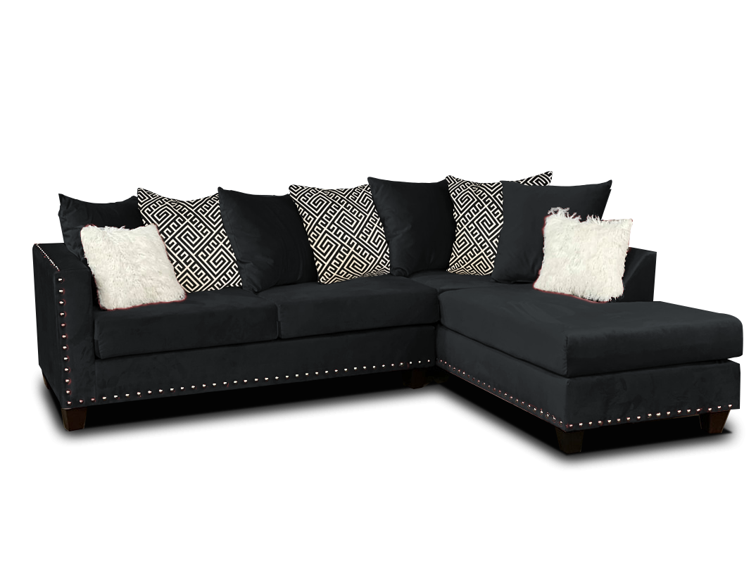 Black Nailhead Sectional