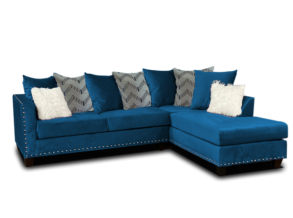 Blue Nailhead Sectional