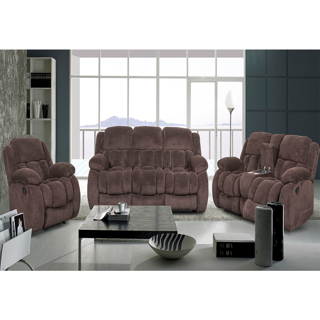 Conroe Brown Sofa, Love, and Recliner