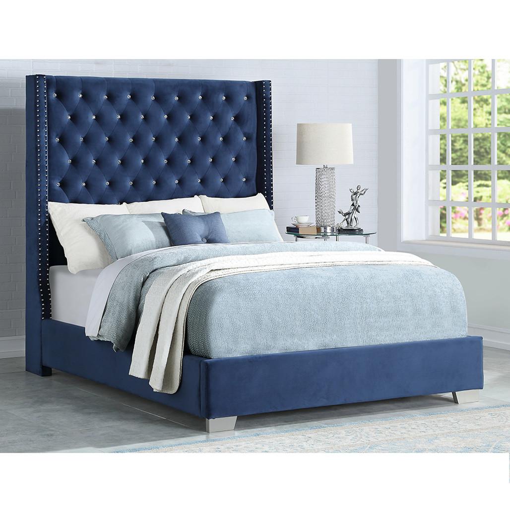 blue velvet bed