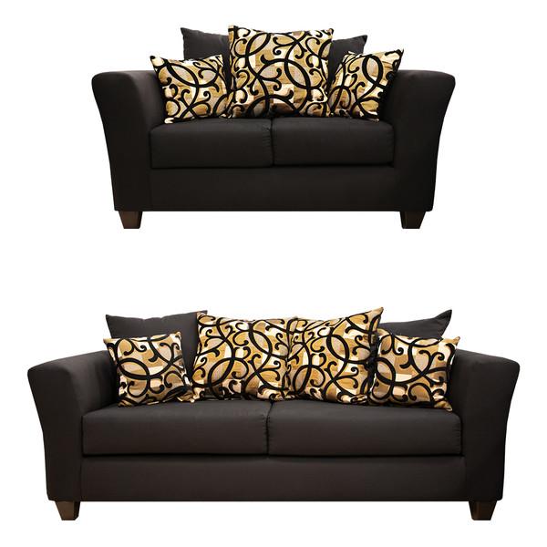 Kay 100 Black and Gold Sofa and Love