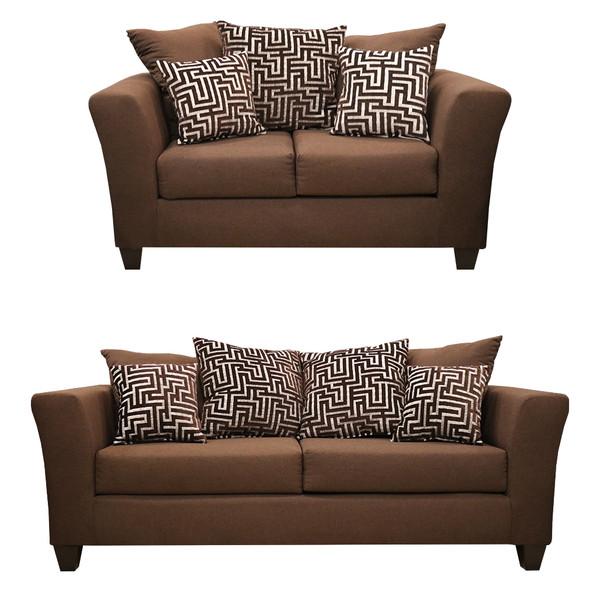 Kay 100 All Brown Sofa and Love