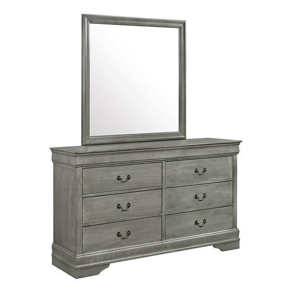 Crown Mark 3550 Louis Philip Grey Dresser and Mirror