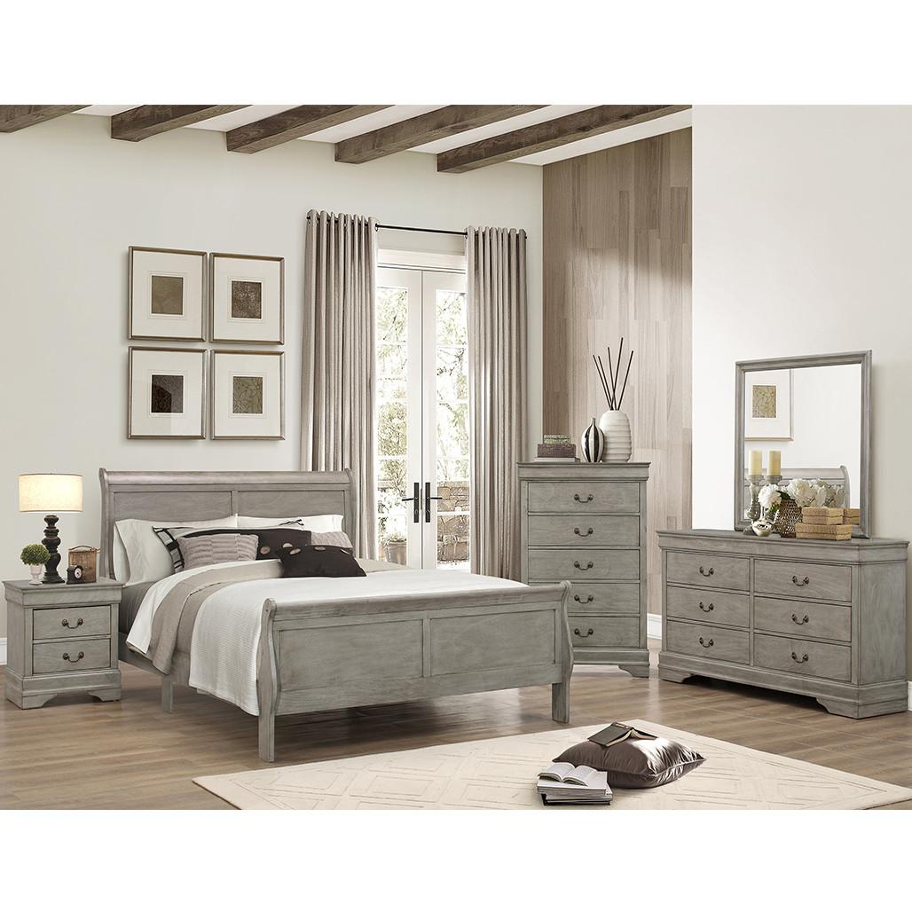 Louis Philip Grey Bedroom Set
