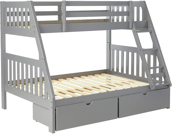 Grey Twin Full Bunk Bed