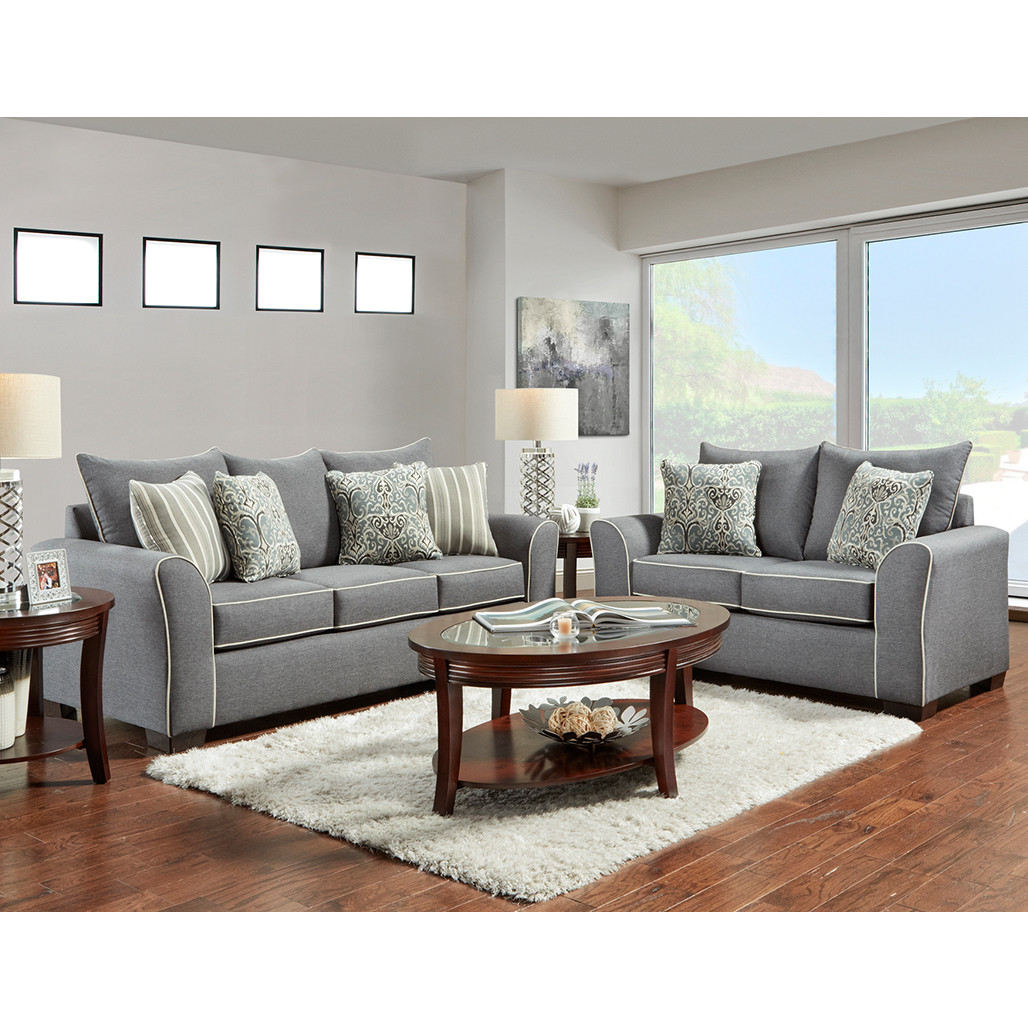 Affordable 5704 Ashton Graphite Sofa and Love
