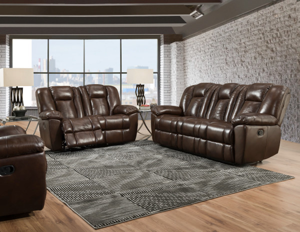 Liza Chocolate Reclining Sofa, Love, and Recliner