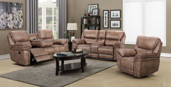 Emilia Palomino Brown Sofa, Love, and Recliner