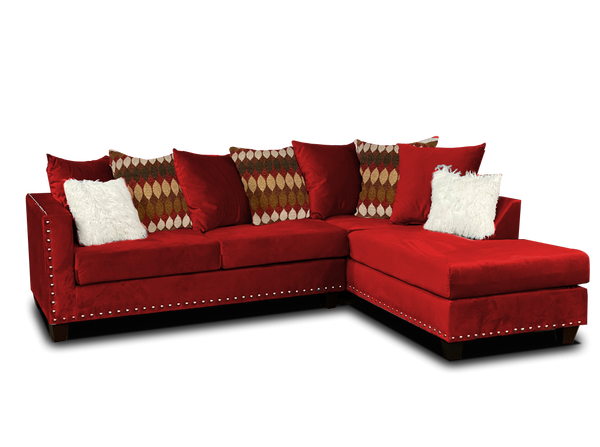 Red Nailhead Sectional
