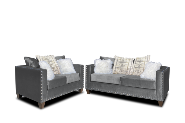 Grey Nailhead Sofa & Love
