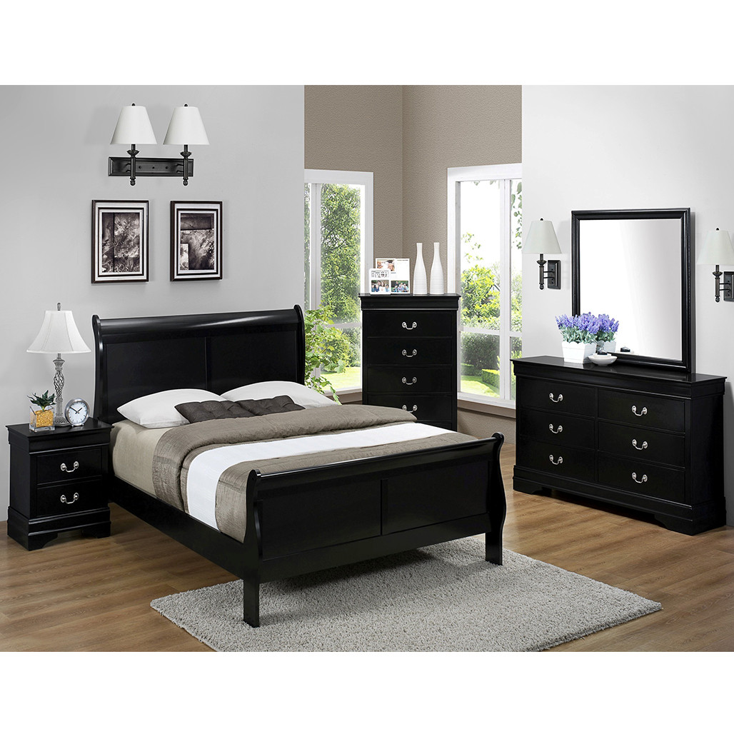 Crown Mark 3950 Louis Philip Black Dresser and Mirror
