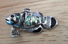 33x23mm Sterling Silver Beautiful Lg Abalone Onyx Fish Pendant