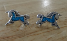 12x8mm Blue Inlaid Unicorn Sterling Silver Studs Posts Earrings! Magical!