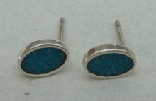 5x7mm Blue Stone Inlaid Flat Oval Studs Sterling Silver Earrings!