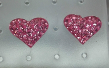 Pink Crystals Puffy Heart Sterling Silver Stud Earrings