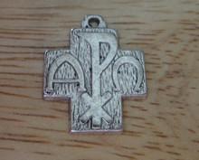 Pewter Chi Rho Alpha Omega Religious Symbol Cross Charm