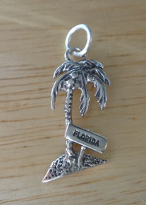 11x20mm says Florida on Palm Tree Coconut Sterling Silver Charm