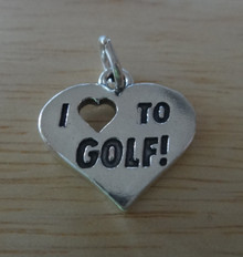 23x18mm Heavy Solid I Love (Heart) to Golf Sterling Silver Charm