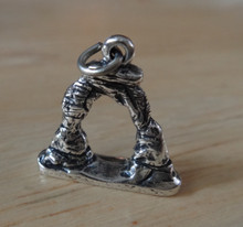 ONE 16x17mm Shape of and says Delicate Arch Utah Sterling Silver Charm